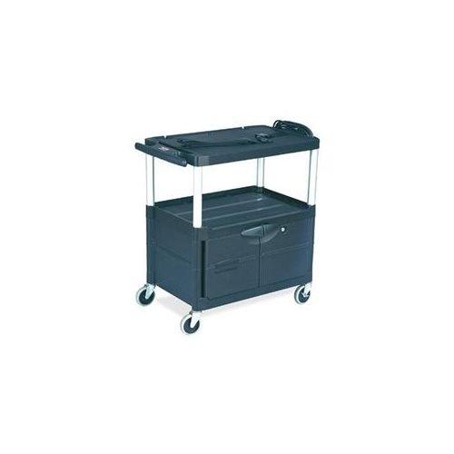 Audio-visual Cart, 3 Shelves w/ Cabinet, 3 Outlets, Black
