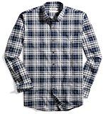 Goodthreads Men's Standard-Fit Plaid Oxford Shirt, Navy Eclipse Heather, Large