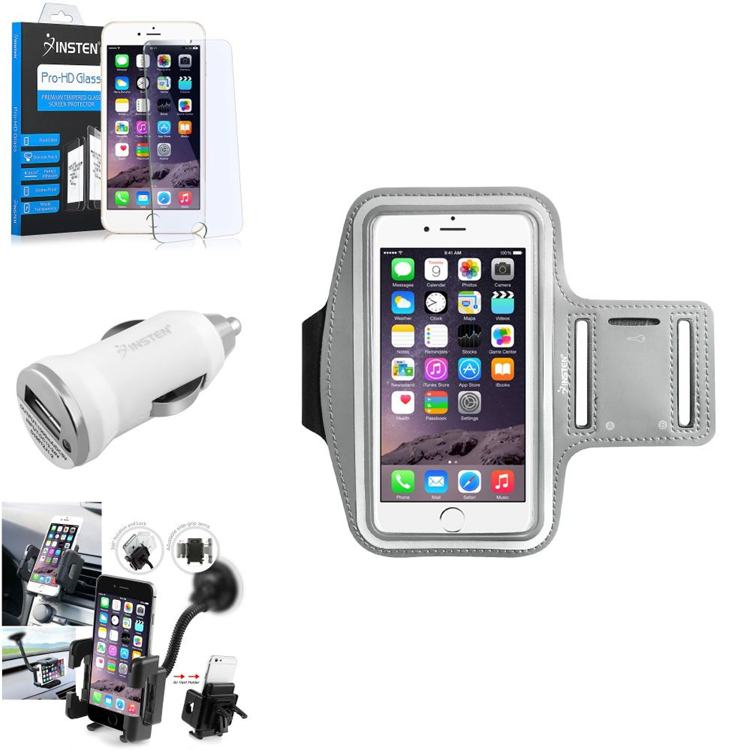 Insten Silver Sports Armband Case Skin Cover Protector Car Accessory For iPhone 6S Plus 6 Plus 5.5