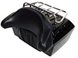 TMS %TBOX-JK1001-K Universal Motorcycle Luggage Tour Trunk Tail Box with Top Rack Backrest