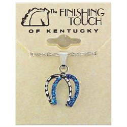 Finishing Touch Double Horse Shoe Glitter Necklace Silver Finish/Royal Blue