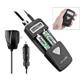 All-in-One AC/DC Battery Charger with LCD Display, Includes USB Port By Lenmar