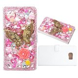 Evtech(tm) Butterfly Pink Rhinestone Bling Crystal Glitter Book Style Folio PU Leather Wallet Case with Handbag Phone Holder & Card Slots for Samsung Galaxy Note 5