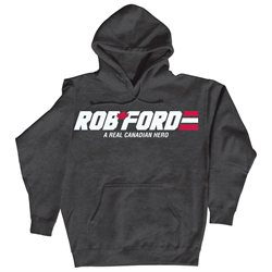 Rob Ford Real Canadian Hero Toronto Mayor - Mens Pullover Hooded Pullover Sweatshirt - Heather charcoal - X-Large