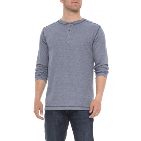 Ribbed Heathered Henley Shirt - Long Sleeve (for Men)