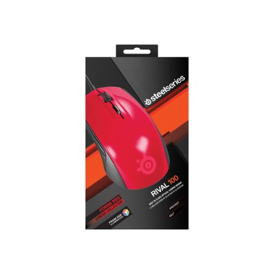 Steelseries 62337 Rival 100 - Mouse - Right-handed - Optical - 6 Buttons - Wired - Usb - Forged Red