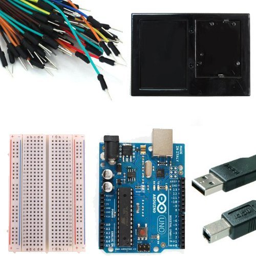 Arduino Uno Rev 3 Starter Kit -- 3' USB Cable --Solderless Breadboard -- 65 Jumper Wires -- Breadboard Holder