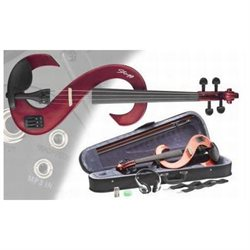 Stagg 4/4-Size Silent Electric Violin Set with Case and Accessories - Metallic Red