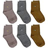 Cottonful 100% Cotton Contact Kids/Toddlers Socks (6 pairs) (Medium, Winter Solid Girl)