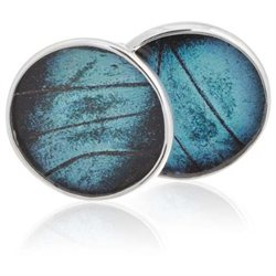 Aymara Blue Gem Circle Butterfly Cufflinks-CL-AYA-0006