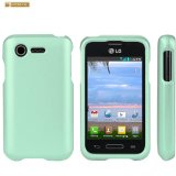 Spots8 LG Optimus Fuel L34C (Straight Talk, Tracfone, Net 10) Aqua Mint Rubberized Plastic Cover Snap On Hard Rugged Gel Case Cell Phone Shield Protector Shell