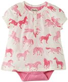 Hatley - Baby Baby-Girls Newborn One Piece Dress-Hearts and Horses, Cream, 3-6 Months