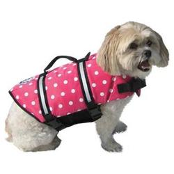 Paws Aboard Doggy Life Jacket in Pink Polka Dot, XX-Small