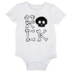 amy coe Boys' White Rock Skull Short Sleeve Bodysuit