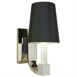 Romano One Light Wall Sconce in Polished Nickel - Shade Color: Black Opaque Paper Shade
