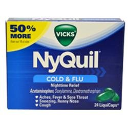 Nyquil Cold & Flu Nighttime Relief Liquicaps by Vicks for Unisex - 24 Count Capsules