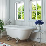 Luxury 54 inch Clawfoot Tub with Vintage Tub Design in White, includes Polished Chrome Ball and Claw Feet and Drain, from The Highview Collection