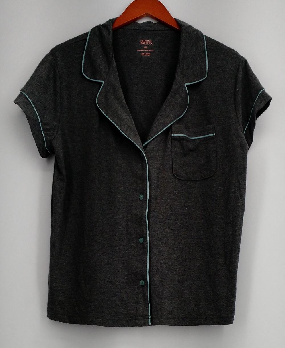 Gilligan & Omalley Plus Size Sleepshirt XXL Short Sleeve Button Down Gray