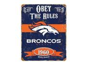 """Party Animal Broncos Vintage Metal Sign - 1 Each - Obey The Rules Print/Message - 11.5"""" Width x 14.5"""" Height - Rectangular Shape - Heavy Duty, Embossed Lettering, Rivet - Steel Type: NFL Color: Black"""