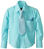 American Exchange Baby-Boys Infant Dress Shirt with Tie and Pocket Square, Turquoise, 12 Months