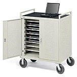 Bretford Lap24efr-gm 24-unit Welded Notebook Cart With 5-inch Casters - Gray Mist