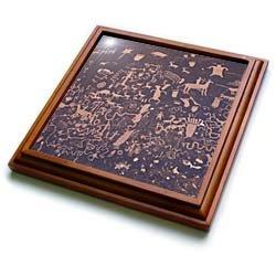 UT, Newpaper Rock SP, Petroglyphs - US45 JWI0176 - Jamie & Judy Wild - 8x8 Trivet With 6x6 Ceramic Tile