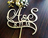 Personalised Two Initials With Date Cake Toppers For Wedding Date Two Letters Cake Topper Rustic Monogram Gold Initial Cake Topper S Letter Elegant and Romantic Customized