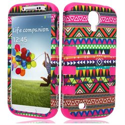 Samsung Galaxy S IV I9500 I9505 Protector Skin Cover - Hybrid RibCase Tribal/ Hot Pink Total Defense