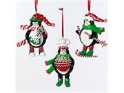 Festive Penguin Holding A Bowl Of Peppermint Candies Christmas Ornament #h4925