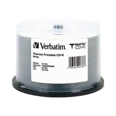 Verbatim 94738 Medidisc - 50 X Cd-r - 700 Mb ( 80min ) 52x - White - Thermal Transfer Printable Surface - Spindle