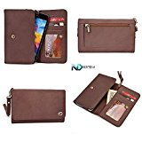Smartphone Genuine Leather Wallet Wristlet for Motorola DROID RAZR HD XT926| Chocolate Brown with Credit Card Slots and Zippered Pouch for Coins   Detachable Wristlet