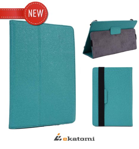 Lenovo IdeaTab A3000 Universal 7 inch Tablet Case Book Folio Stand - Teal / Turquoise Blue. Bonus Ekatomi Screen Cleaner Sticker