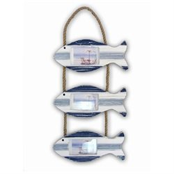 Puzzled 9288 Nautical Decor - Blue Stripes 3 Hanging Fish Frames