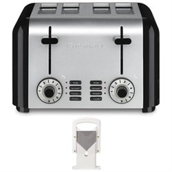 Cuisinart CPT-340 Compact Stainless 4-Slice Toaster in Brushed Stainless with Lifetime Brands Hoan Bagel Biter White