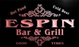 u13564-r ESPIN Family Name Gift Bar & Grill Home Beer Neon Light Sign