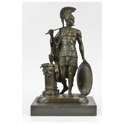 Odysseus Greek Soldier Spartan With Spear And Shield Bronze Sculpture By Huzel