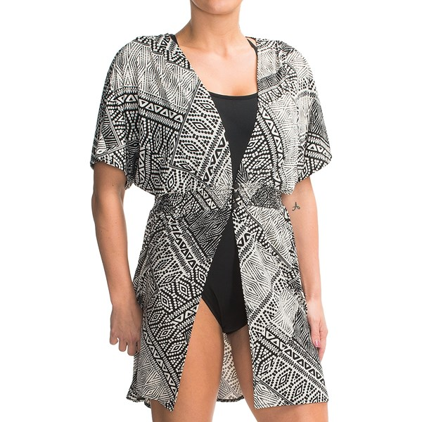 Dotti Three-button Swimsuit Cover-up Dress - V-neck, Batwing Short Sleeve (for Women)