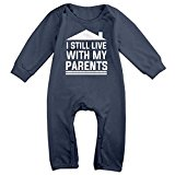 NEWBABY I Still Live with My Parents Newborn Long Sleeves Onesies Clothes for 6-24m Baby