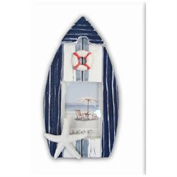 Puzzled 9281 Nautical Decor - Blue Stripes Boat Frame Small 2.5 in. x 5 in.