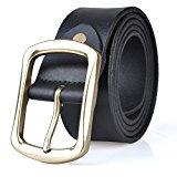 Guan's Men's Reversible Leather Belt White Medium