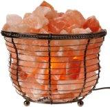 WBM 1301B Himalayan Natural Crystal Salt Basket Lamp Bundle with Power Cord, Light Bulb and Rotary Dimmer Switch - Medium Basket