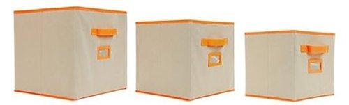 Orbit 722028140086 Storage Bins - Oatmeal With Orange Trim -  3pk - Assorted Sizes