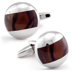 Amber Brown Glass Cufflinks