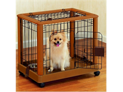 Richell Mobile Rubberwood Pet Pen With Washable Trays - Small