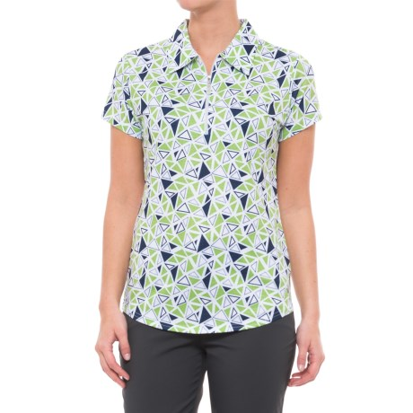 Scalene Printed Golf Polo Shirt - Upf 50, Zip Neck, Short Sleeve (for Women)