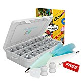 Cake Decoration tips-37pcs-the ONLY KIT with BONUS Reusable silicone bag-x2 coupler-x10 Disposable icing bag-eBook.EASY TO SET & USE-Baking Tool Supply.Professional Icing Tips-Piping Cake Nozzle.