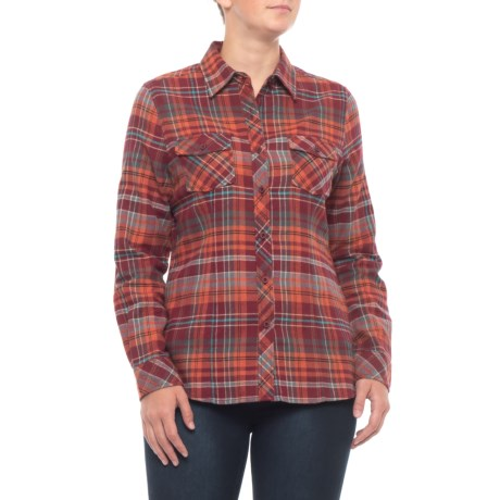 Oxblood Red Yarn-dyed Flannel Shirt - Long Sleeve (for Women)
