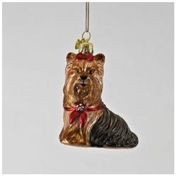Pack of 6 Noble Gems Glass Yorkshire Terrier Dog with Red Holiday Bow Christmas Ornaments 3.5