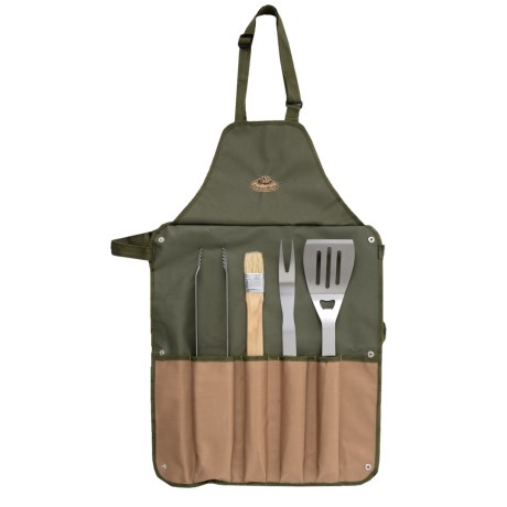 Canvas Barbecue Apron And Grilling Tools Set - 5-piece