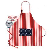 Premium Cooking Bib Apron with Pocket - Patriotic Kitchen Aprons for Women - Chef Apron for Men - FREE Cooking eBook - Look Sensational In This Stylish Attitude Apron With Bright Stars and Stripes Colors For All Cooking, BBQ Grilling, Parties & Thanksgiving - Great Aprons For Kids, Mother Daughter Aprons And Wedding Gifts